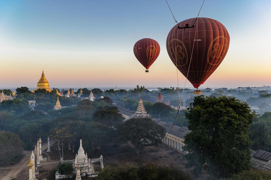 3. Панорамы, открывающиеся во время полета над Паганом, древние храмы Мьянмы