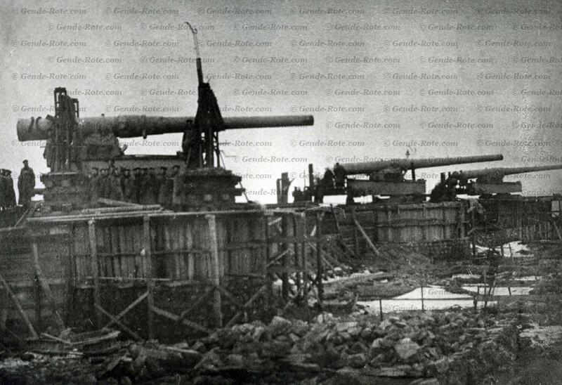 Установка тяжёлых крепостных орудий (10-дм орудия, предположительно форт «Риф», по самой западной оконечности острова). Кронштадт. Начало 1910-х гг.