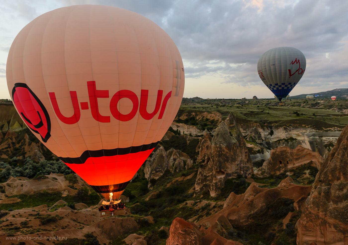Фотография 8. Особенно красивы фотографии летящего воздушного шара, если их снять в момент, когда из горелки вырывается пламя и освещает монгольфьер изнутри. Отзывы туристов об экскурсиях в Каппадокии. Поездка по Турции на машине. 1/60, -1.67, 8.0, 800, 24.