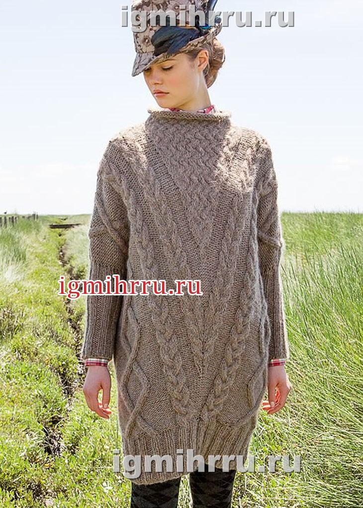 Теплое платье с плетеными узорами и косами. Вязание спицами