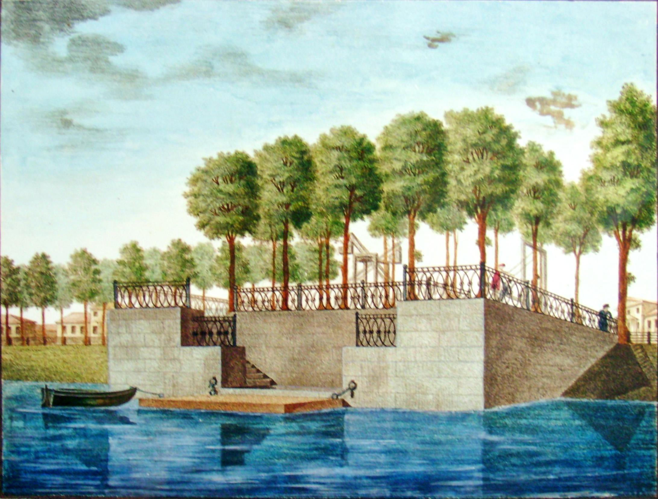20. Вид каменной в грузинском саду Пристани при большом пруде. Рисовал на камне У О. С. Родионов в 1822.