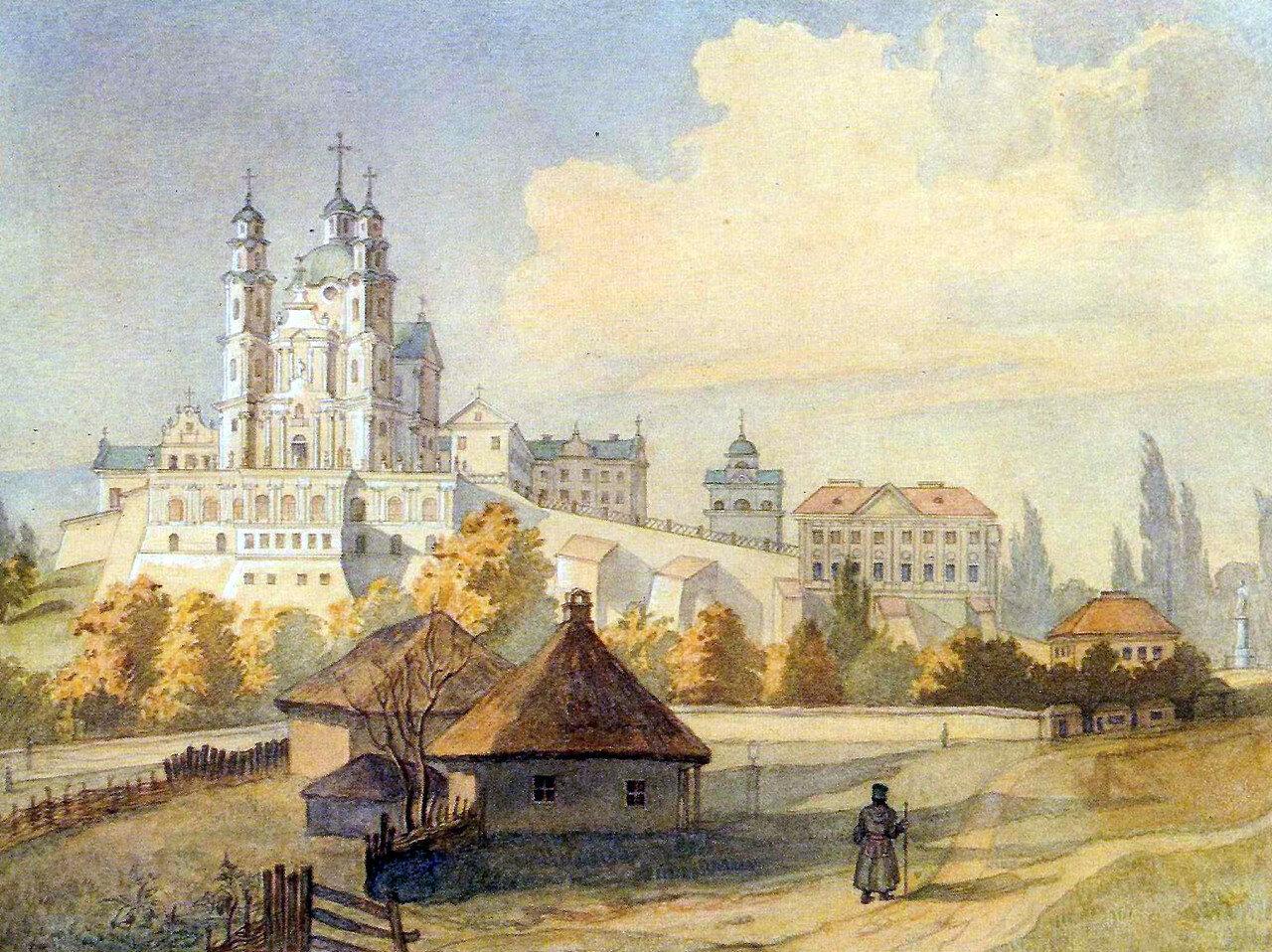 Почаевская лавра с юга. Шевченко Тарас Григорьевич. 1846.