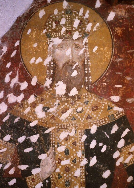 Святой Краль Стефан Урош II Милутин. Фреска церкви Богородицы Левишки в Призрене, Косово, Сербия. 1310 - 1313 годы.