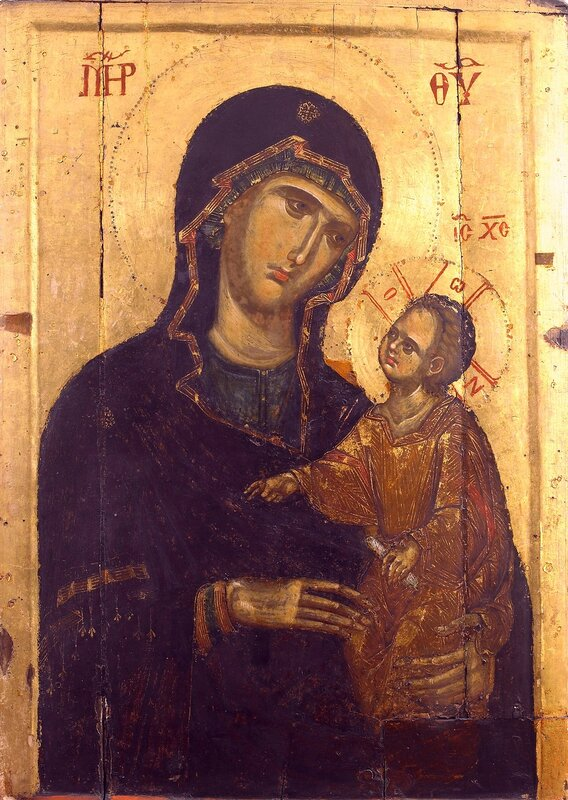 Богоматерь с Младенцем. Византийская икона в монастыре Ватопед на Святой Горе Афон.