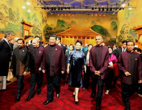 Султан Брунея, Путин, лидер КНР, его супруга и Обама