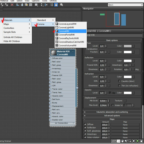 corona render 1 - создание материала CoronaMtl в slate-редакторе