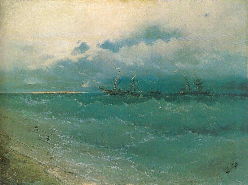 Айвазовский И.К., Корабли в бурном море. Восход солнца, 1871