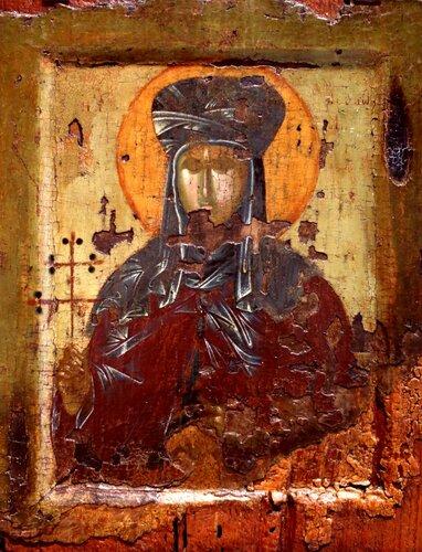 Святая Преподобномученица Феодосия, дева Константинопольская. Икона. Византийский музей в Салониках.