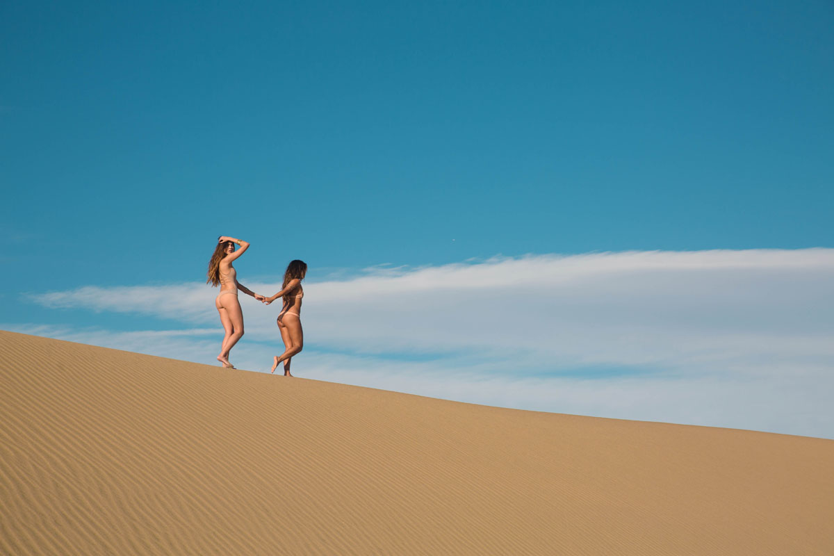 Justine and Rachel for Gypsum in the Nevada Death Valley Dunes