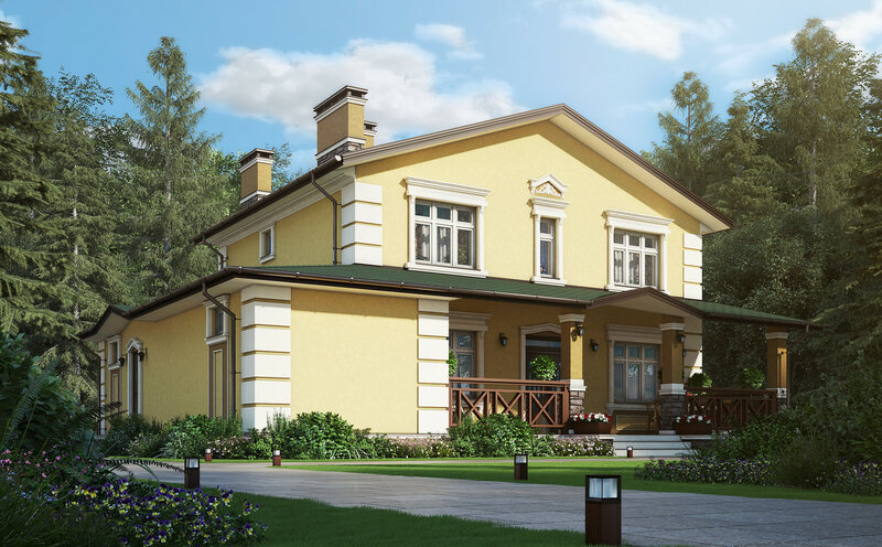 проект загородного дома, отделка