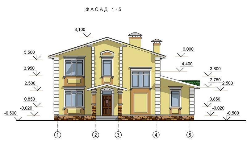 Проект частного дома, фасад 1
