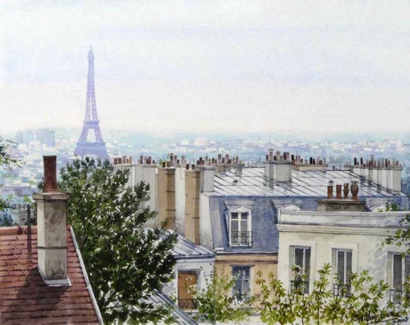 Париж  Тьерри  Дюваля. Акварель.