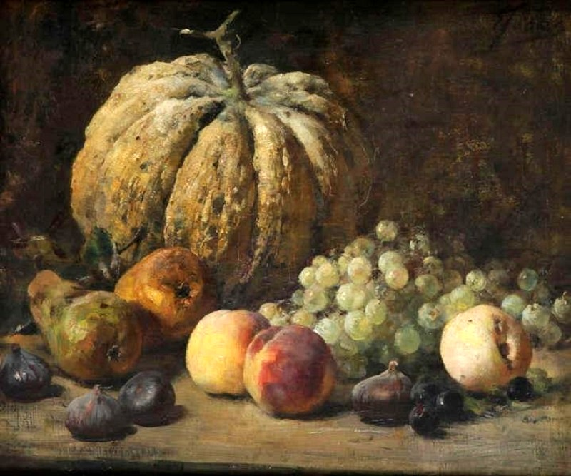Still life with pumpkin and fruit