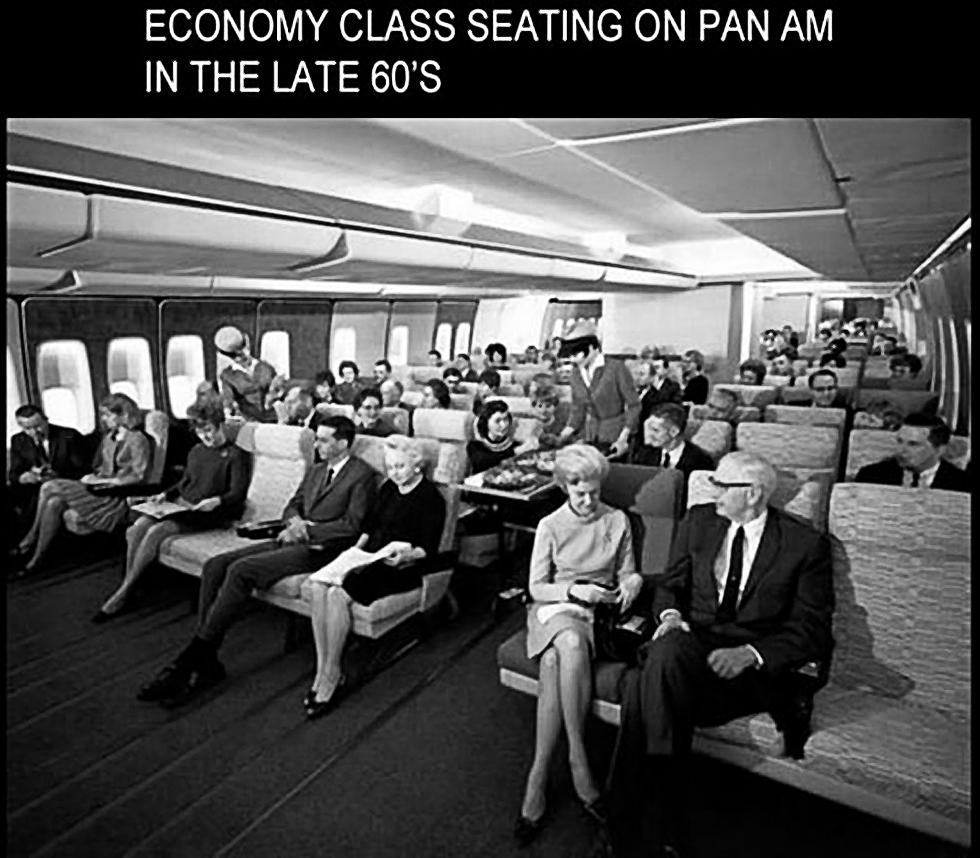 Эконом класс авиакомпании Пан Американ, поздние 1960-е, США.