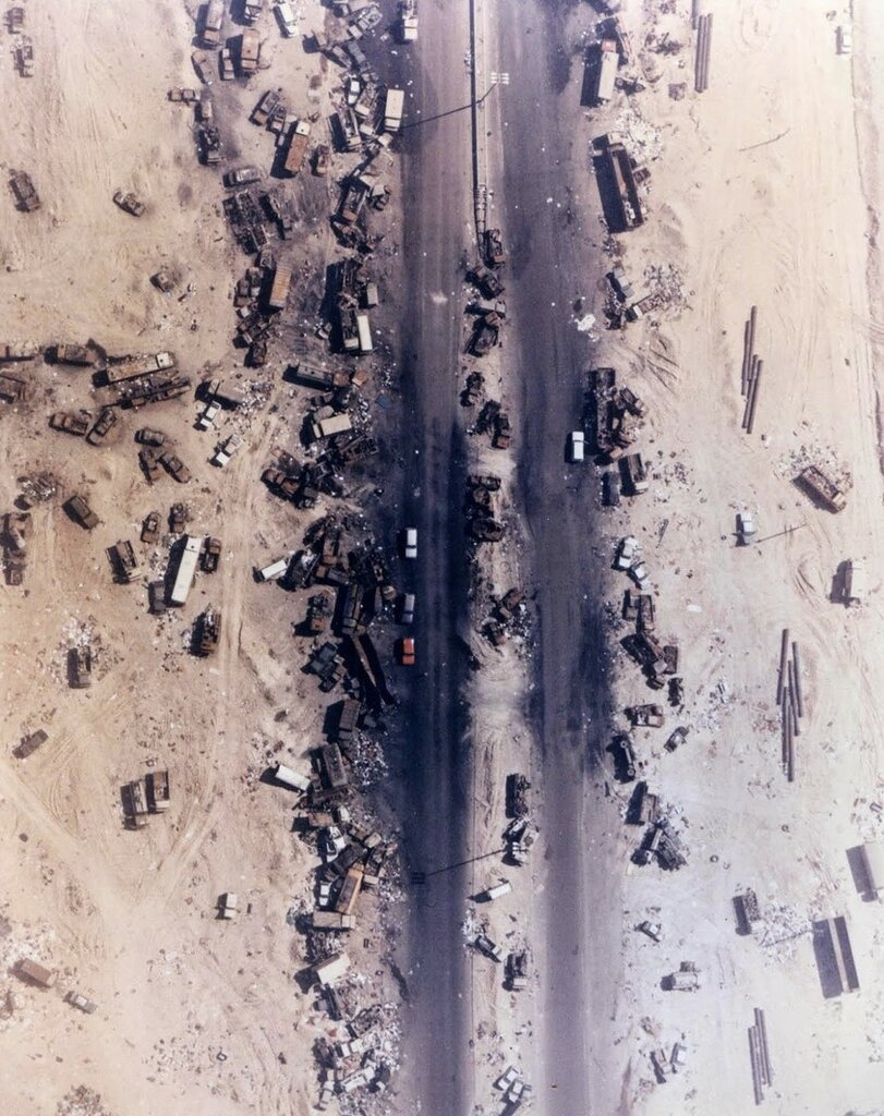 Highway of Death, The result of American forces bombing retreating Iraqi forces, Kuwait, 1991.jpg