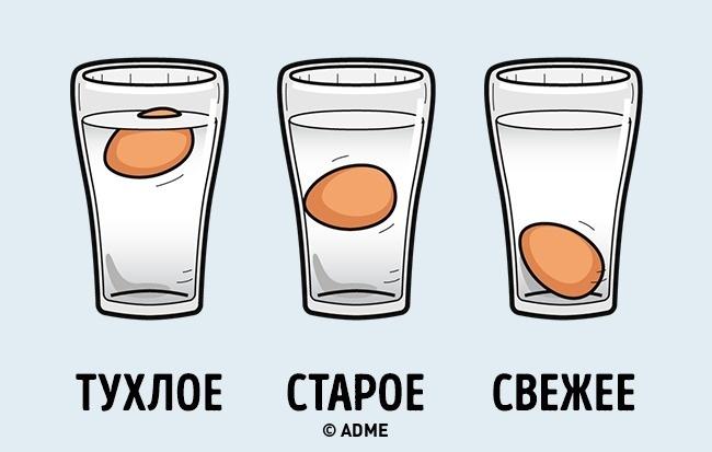 Испорченные яйца всплывают вводе, есть такие категорически нельзя. Свежее яйцо держится надне емко