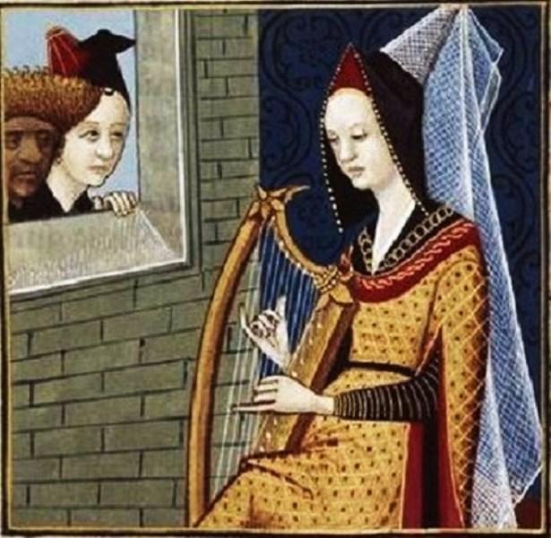 Sempronia la conjurée, jouant de la harpe -- BnF Français 599 f°68.jpg