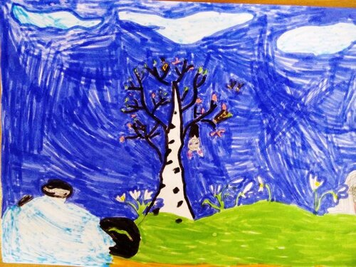 Весенняя картина - Маркова Ксения Яковлевна, 6 лет, Тема -- Рисунок, г. Волгоград.jpg