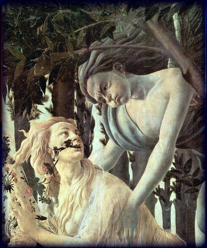 Нимфа Хлорида и Зефир. Sandro Botticelli.Фрагмент картины Боттичелли. Весна. 1482 год .jpg