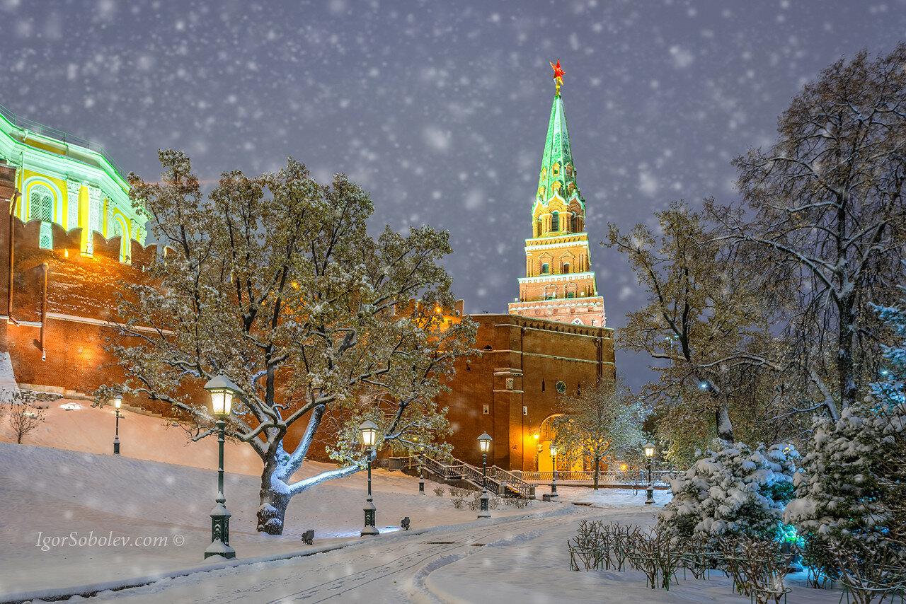 Снегопад у Московского кремля