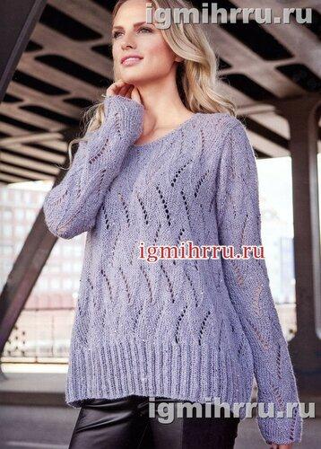 Лилово-серый пуловер с ажурными дорожками и мерцающими пайетками. Вязание спицами