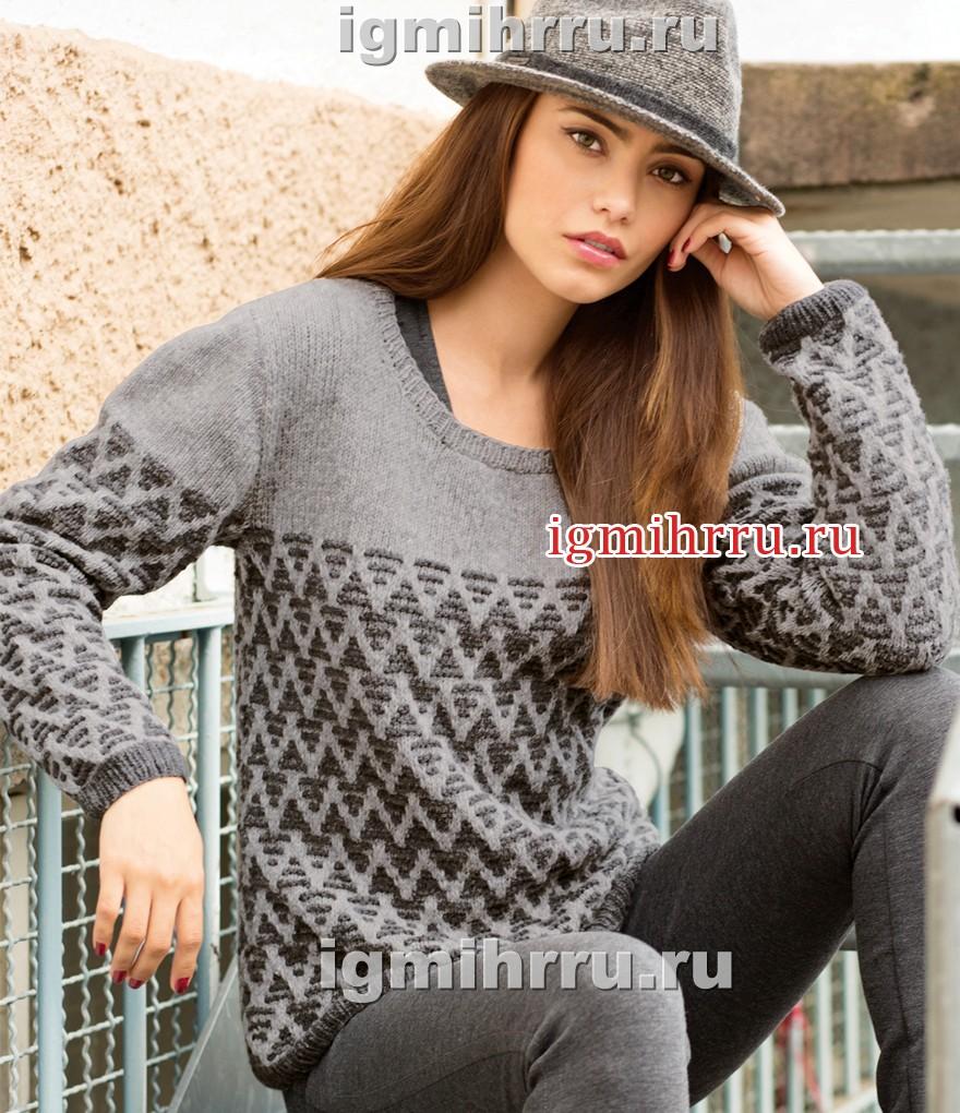 Теплый серый пуловер с узором из снятых петель. Вязание спицами