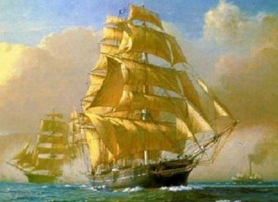 Катти Сарк и пароход
