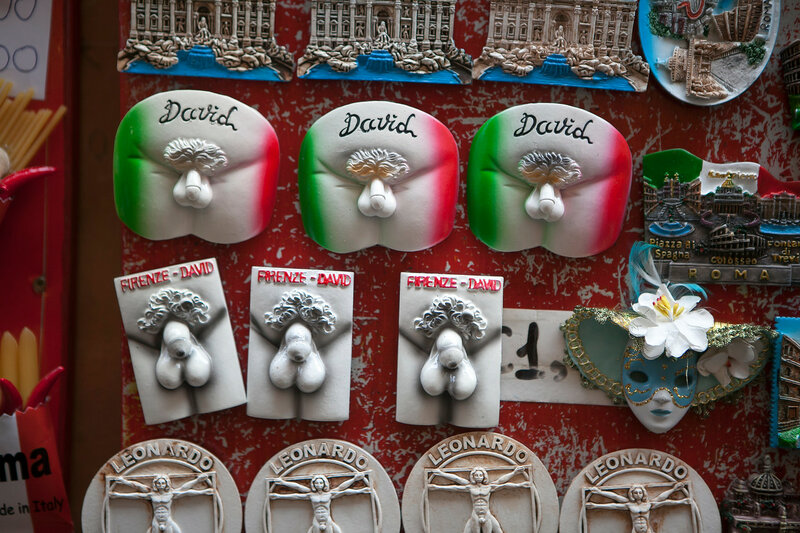 Collection of souvenir magnets of Italy