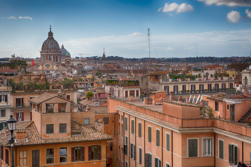 Panoramic view of Rome and St. Peter's Basilica, Italy