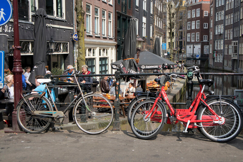 view of bicyclist on Amsterdam street, Netherland