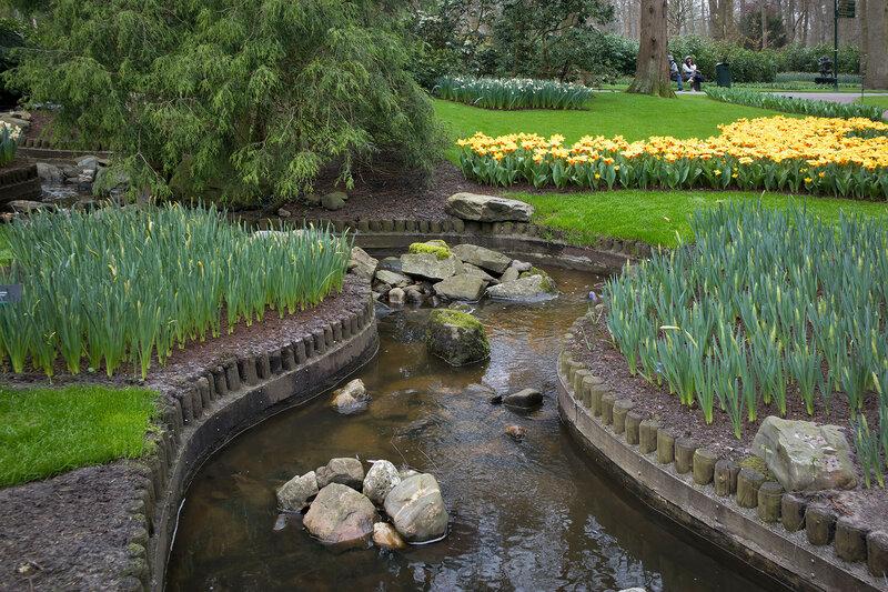 the creek in the botanical garden of Keukenhof in spring