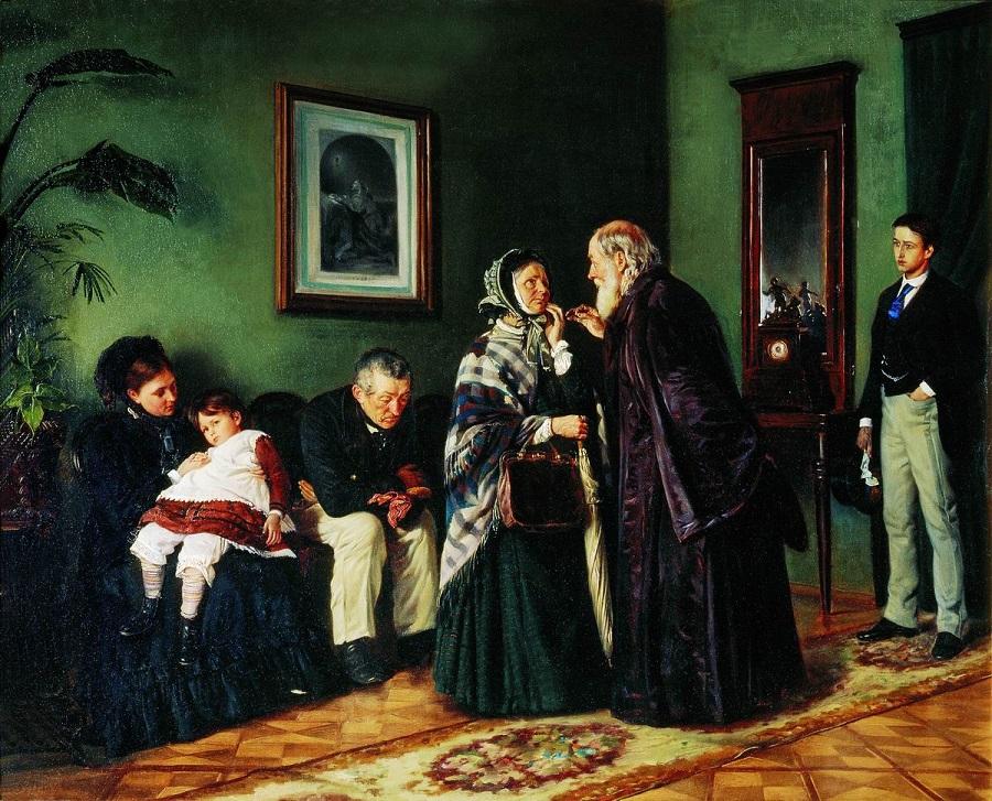 В приемной у доктора. 1870 Холст, масло. 69 x 85 см  Государственная Третьяковская галерея, Москва