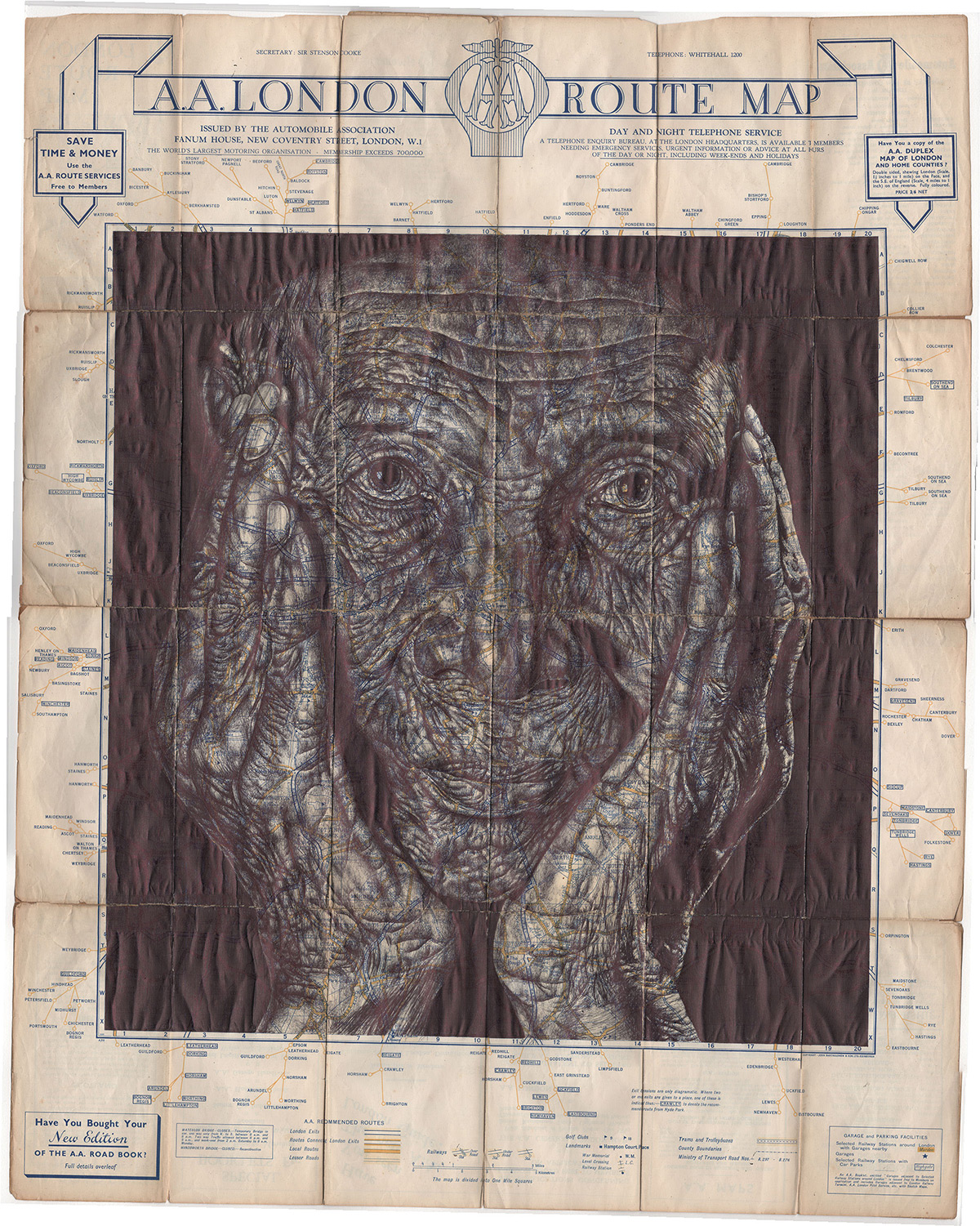 New Bic Ballpoint Pen Portraits on Vintage Maps and Stationery by Mark Powell
