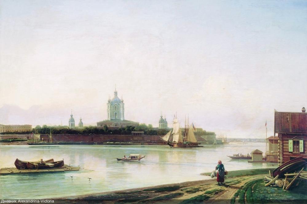 Вид Смольного монастыря с Большой Охты. 1870-е.