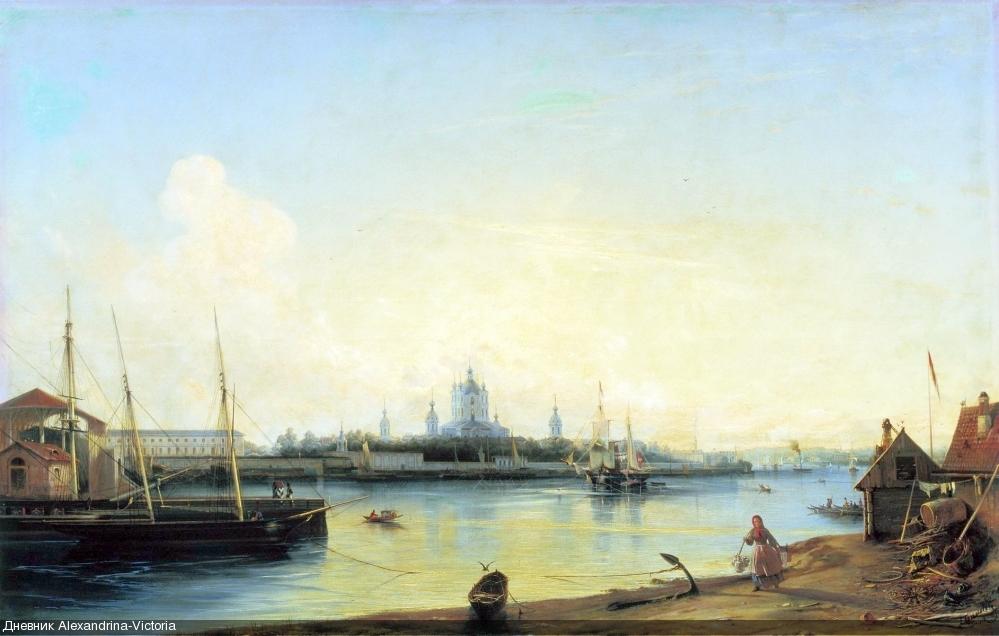 ВИД НА СМОЛЬНЫЙ МОНАСТЫРЬ С БОЛЬШОЙ ОХТЫ (1851)