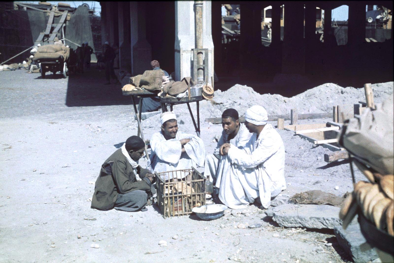 Александрия. Четыре докера с корзиной для еды во время перерыва