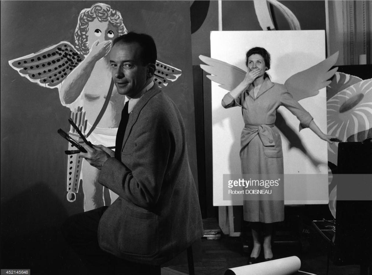 1953. Бернард Виллемот рисует плакат в своей студии в Париже