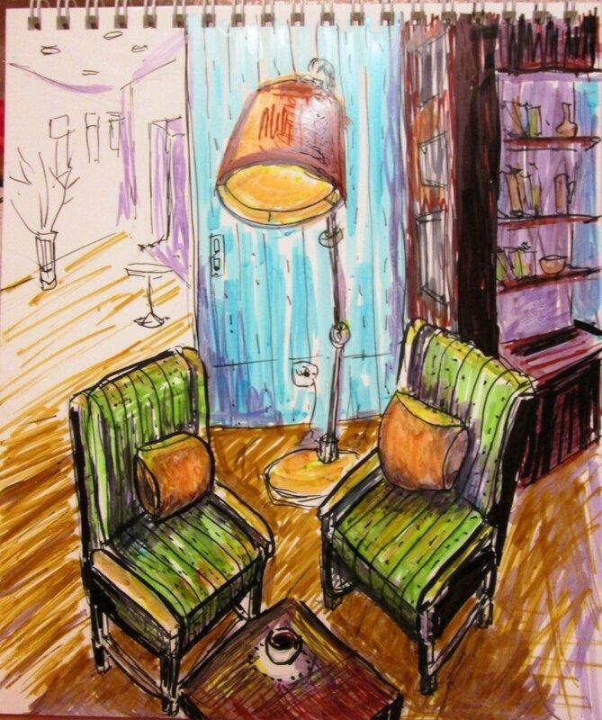 интерьер с зеленым креслом