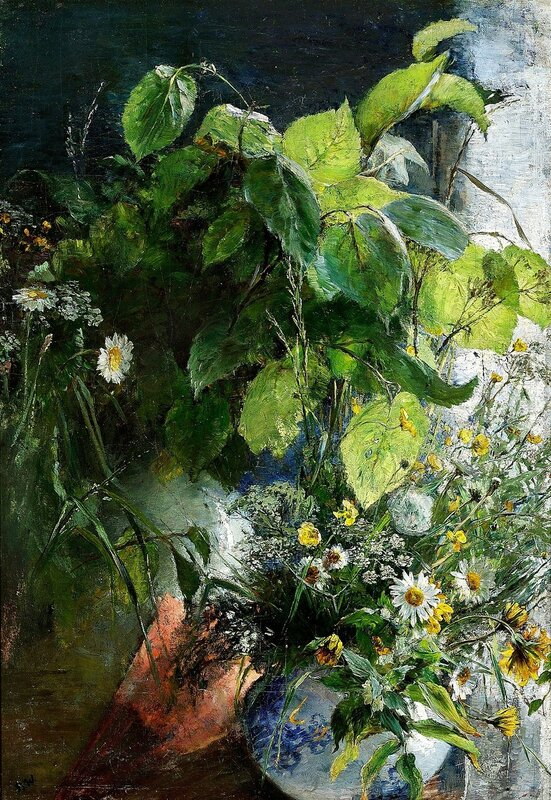 Bertha Wegmann. Still life with beech branches and flowers in a vase