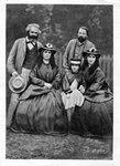 Карл Маркс, Фридрих Энгельс и дочери Маркса :Женни, Элеонора и Лаура. Фото середины 60-годов 19 века.