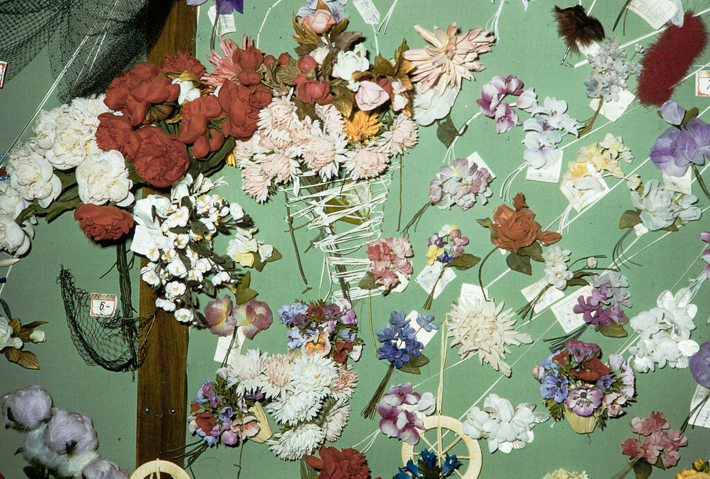 Russia, silk flowers displayed at store in Moscow
