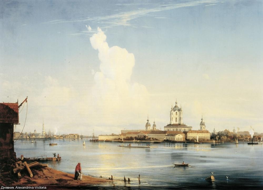 «Вид на Смольный монастырь с Большой Охты». 1870-е