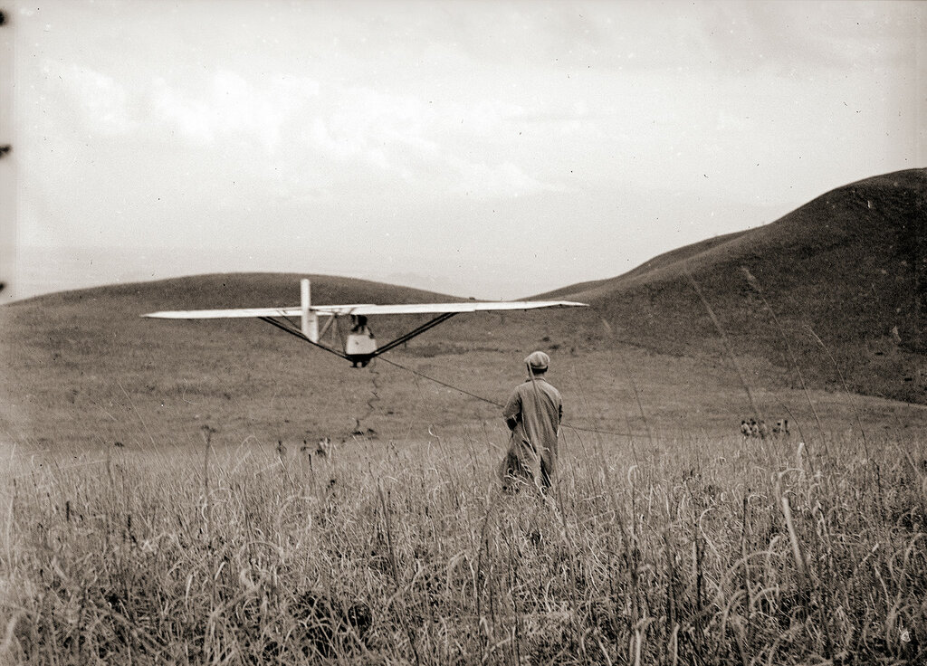 Men Pulling Glider Into the Air, 1930s Japan