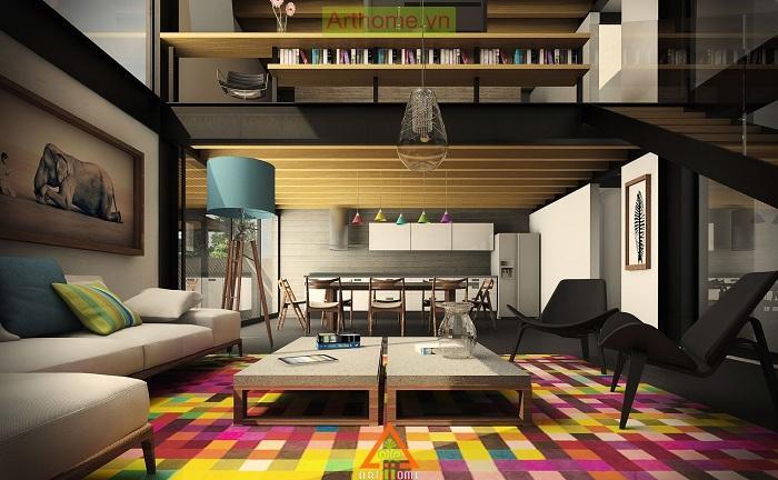 1. Яркое настроение Интересное сочетание бежевых тонов с ярким ковриком на полу для отличного настро