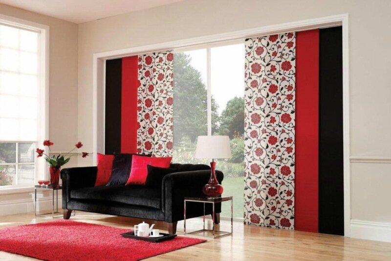 спальня в красно-черных тонах