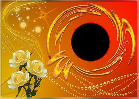 Рамка для фото с букетом желтых роз и бусами