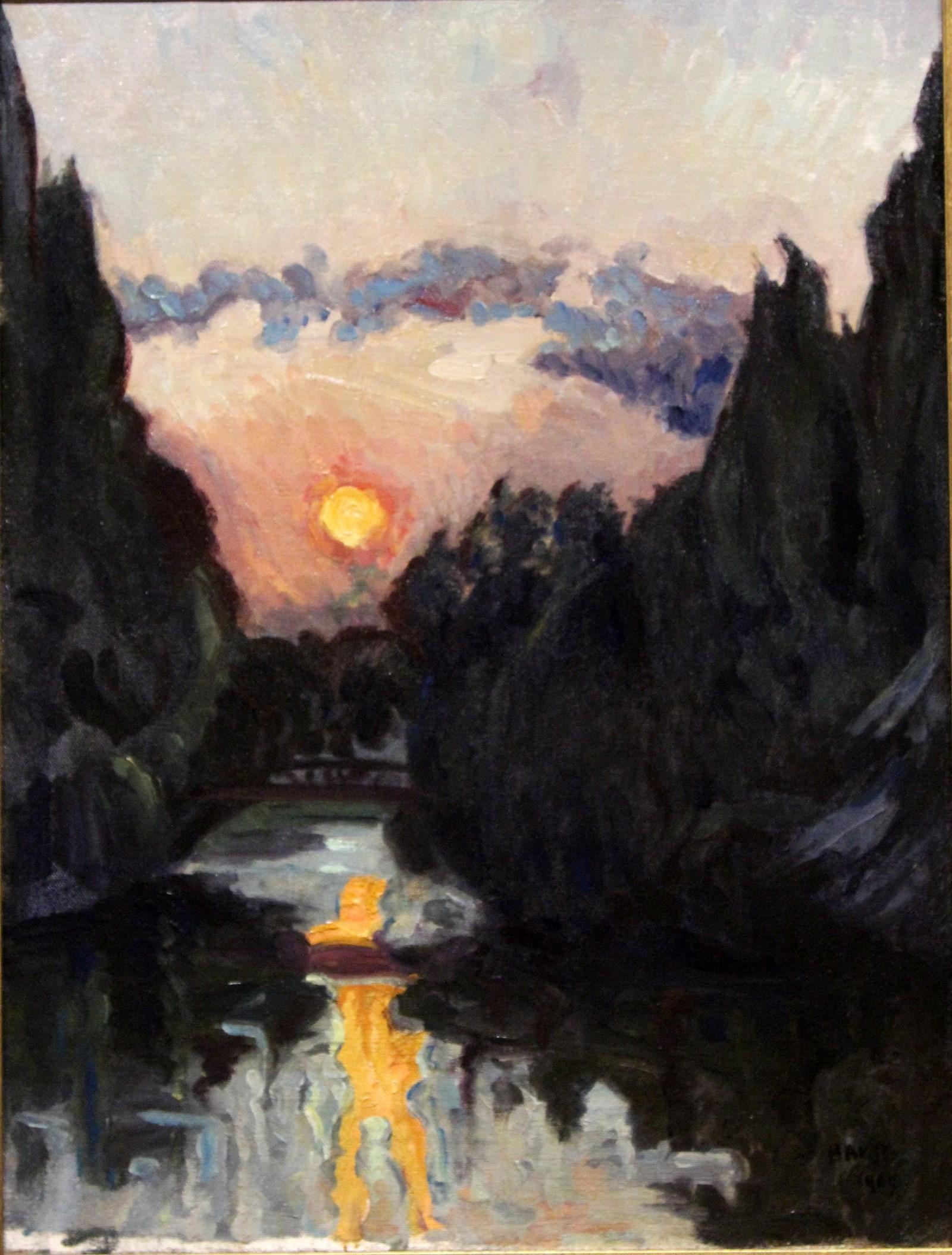 Бакст Лев. 1866-1924 Сумерки над озером. 1909 Холст, масло. Из корпоративной коллекции Белгазпромбанка.