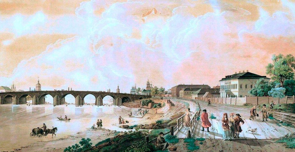 461409 Вид Каменного моста и его окрестностей в Москве с деревянного мостика, что у наугольной (Водовзводной) башни 1796 Гравюра Г. Лари по рисунку Ж. Делабарта.jpg