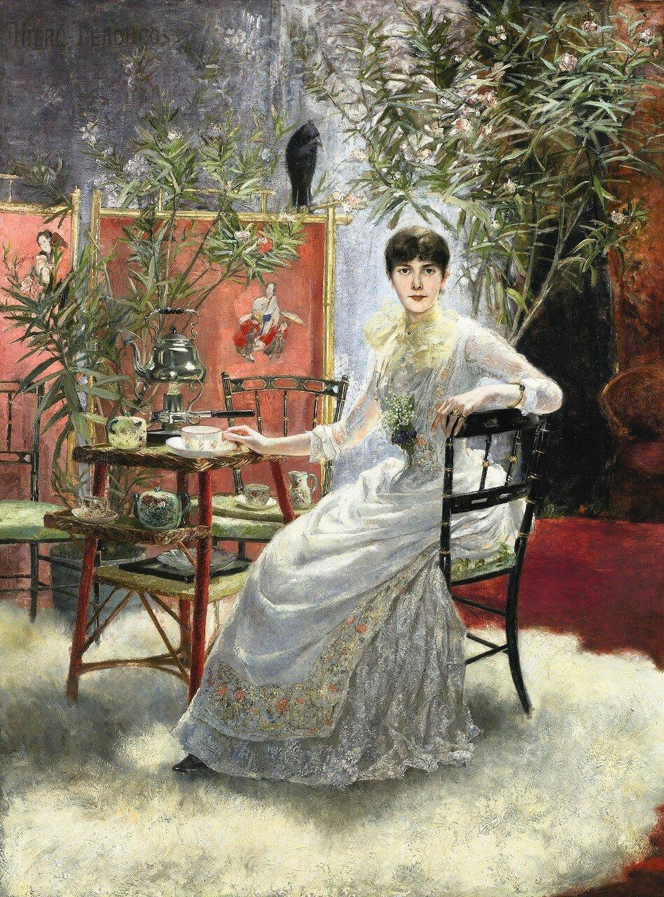 Otto Hierl-Deronco (1859-1935) GERMANPORTRAIT DE JEUNE FEMME