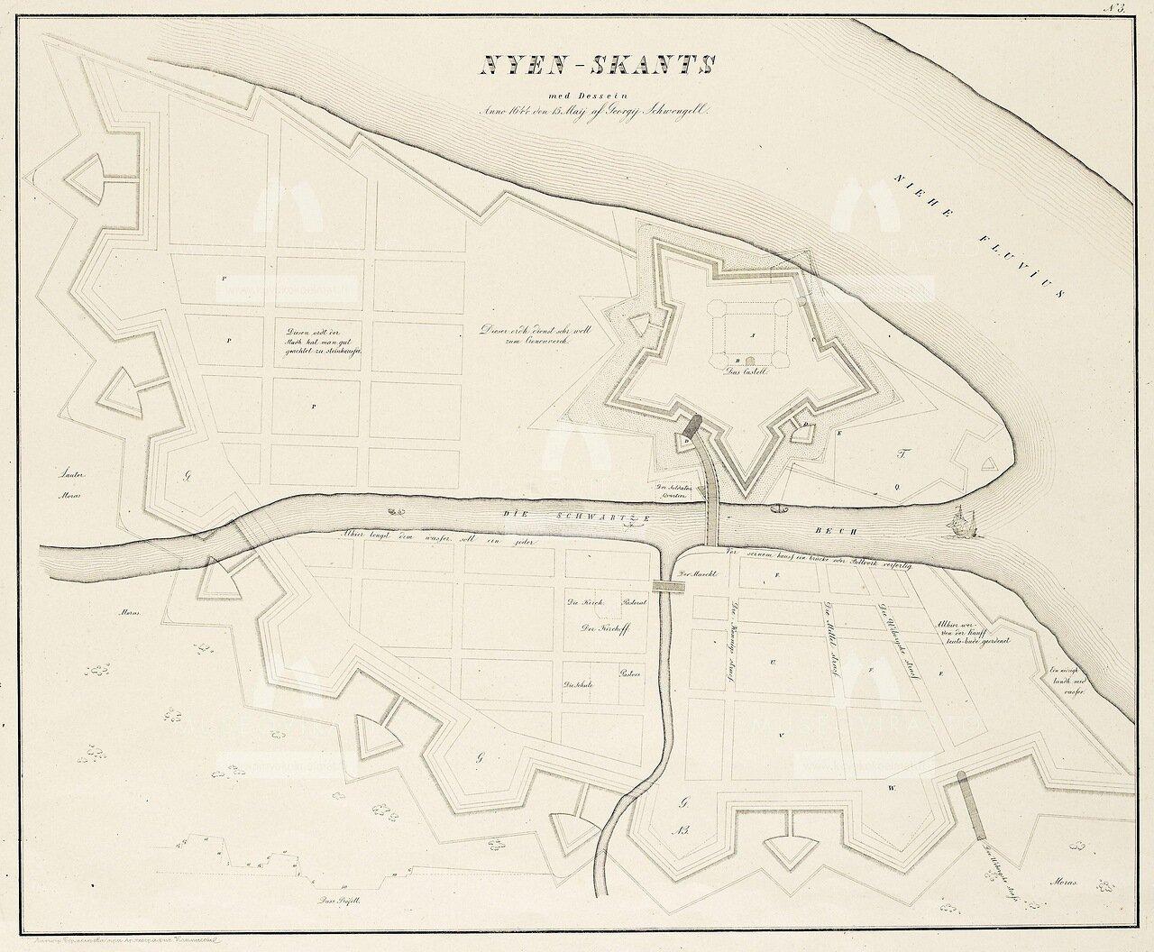 1644. План местности занимаемой ныне Санкт-Петербургом до завоевания её Петром Великим с показанием существовавших на ней шведских укреплений